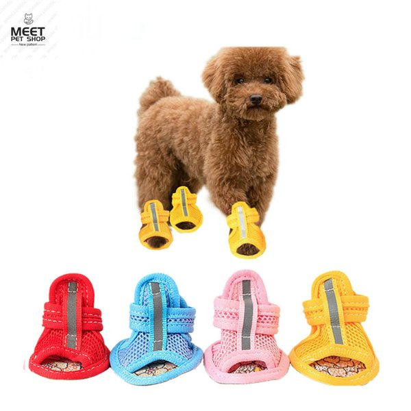 4pcs/lot Anti-Slip Small Dog Shoes Cute Pet Beef Ttendon Mesh Sandals Spring Summer Breathable Soft Mesh Sandals