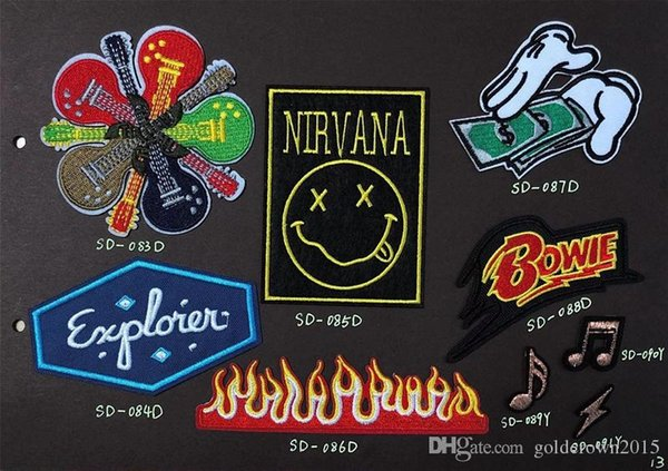 top popular 8P-29 Hot sale NIRVANA Iron on Patches ROCK & STONE Armband GUITAR patch for jacket cap accessories sew on patch 2020