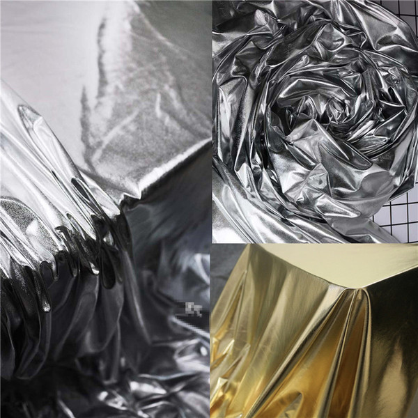 50cm*95cm/piece Super thin elastic mirror leather bright silver coating fabric knitted metallic designer fabrics