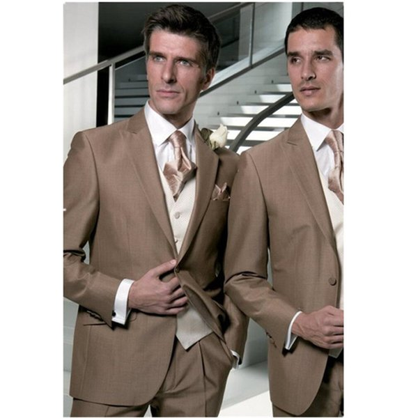 New Brown Wedding Suits For Men Slim Fit 3 Piece Prom Tuxedos Custom Made Groomsman Blazer Style Suits (Jacket+Pants+Vest) New