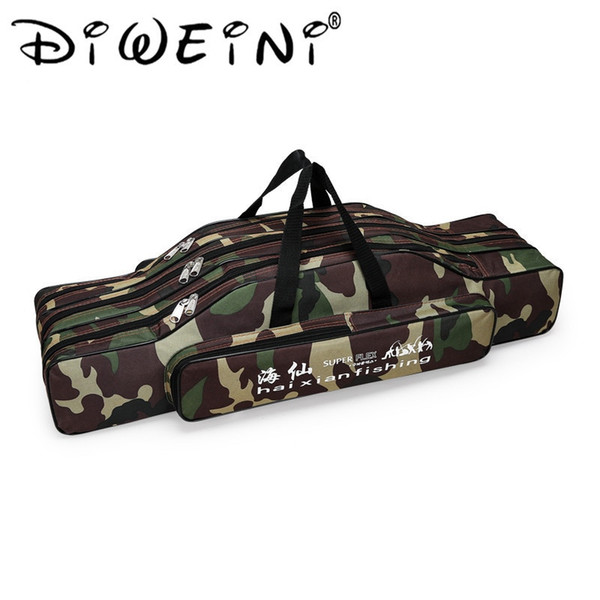 Camouflage / Black 70cm 80cm 90cm Waterproof Nylon Fishing Rod Bag For Fishing Tools 2/3 Layer Canvas Multifunctional Backpack #28399