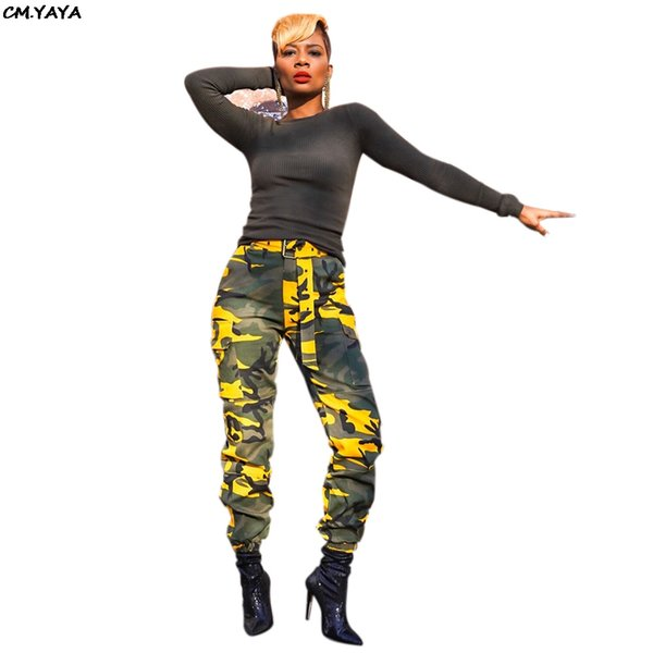 2019 women summer high waist with sashes camouflage print safari style long pants fashion sporty pencil trousers leggings A6171