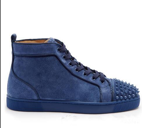 Top Quality Men Shoes Red Bottom Sneaker Shoes Blue Suede Luxury Party Wedding Shoes,Outdoor Lace-up Casual Walking Shoes