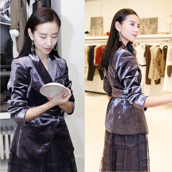 SexeMara fashion The New Gold velluto Lace Slim Suit coat Spedizione gratuita