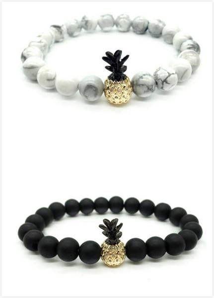 Pineapple Bracelet With Diamond-inlaid Couple Bracelet Fashionable Natural Stone Bracelet The Best Gift for Valentine's Day 2 pcs/set Free