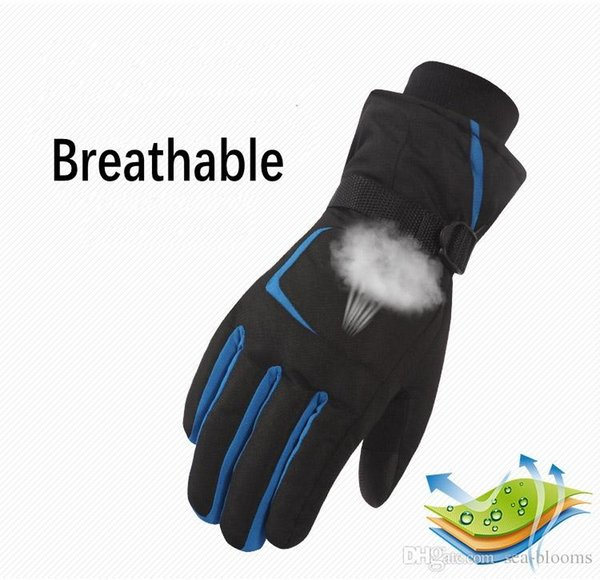 Christmas Gift Outdoor Ski Gloves 5 Colors Winter Waterproof Snowboard Riding Snow Warm Cold Weather Men Gloves With Wrist Band H908R
