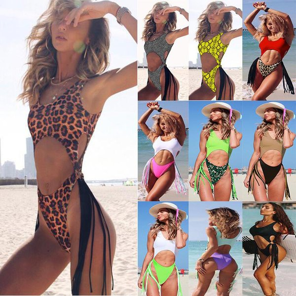 best selling Hot Sale Leopard One-Piece Swimsuit 2020 New Women Sexy Europe and American Fashion Hollow Steel Tassel One-Piece Bikini Swim Wear