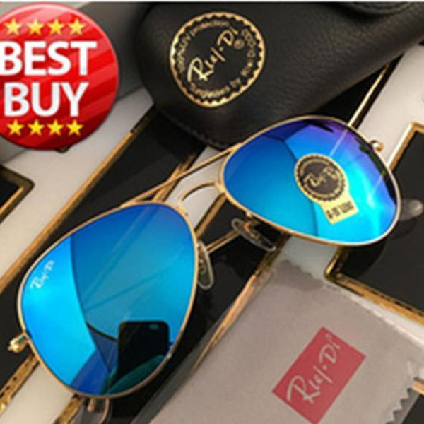 best selling 1pcs designer brand new classic pilot sunglasses fashion women sun glasses UV400 gold frame green mirror 58mm lens with box