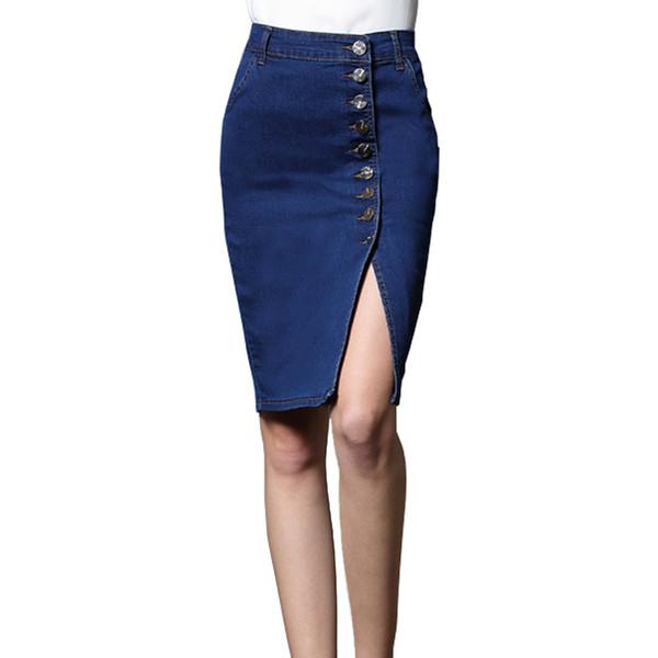 Femmes Bodycon Jeans Jupe Denim Femmes Sexy midi Droite Jupe Crayon Solide Bouton Casual 2018 Genou Longueur Blanchi