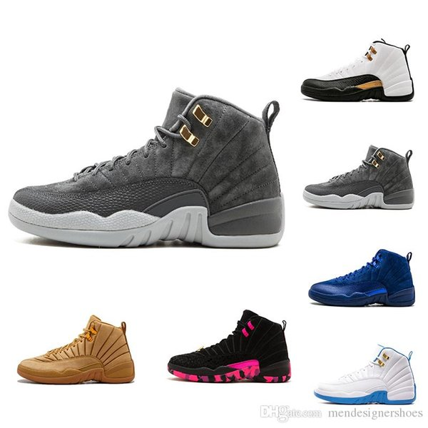 quality design 3269c 366f5 12s 12 Bordeaux Dark Grey Wool Basketball Shoes 12 Wings 12s The Master  Sports Sneakers XII Colorway:Black/Metallic Gold White Men Athletics Naot  ...