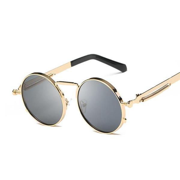 Occhiali da sole rotondi alla moda punk a vapore retrò da donna da uomo in lega di marca per occhiali da sole maschili femminili Uv400