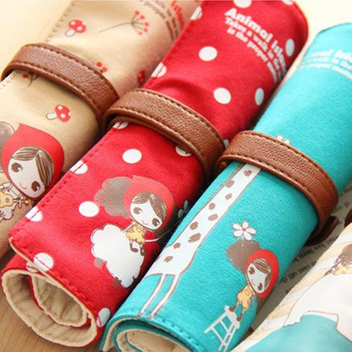 4 Pcs/Lot Canvas School Pencil Case Pen & Pencil Bag Animal Island Storage Bag Papelaria Material Escolar Stationery