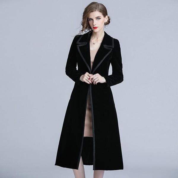 2019 black Velour long women trench coat suit slim fit lady Cappotti di carriera con un solo petto
