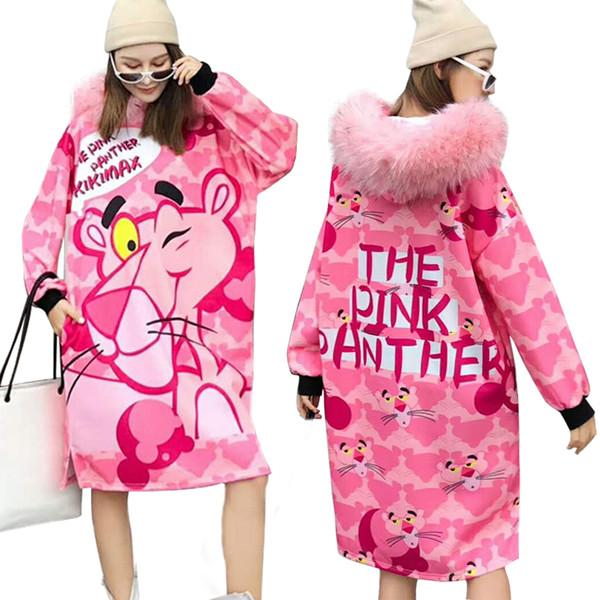 Abito con cappuccio da donna The Pink Panther Sweatershirt Autunno Inverno New Fashion Cartoon Print Maglione lungo Outwear