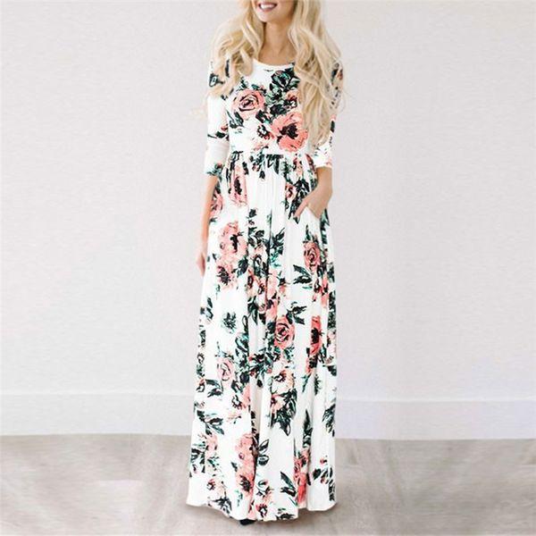 Sommer langes Kleid Blumendruck Boho Strandkleider Maxi-Kleid Frauen Abendgesellschaft Kleid Sommerkleid Vestidos De Festa Designer-Kleidung