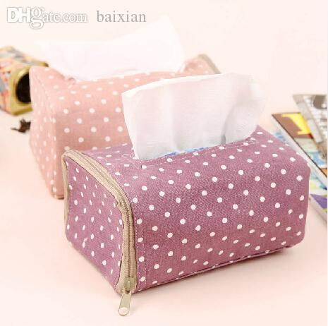 Wholesale-Korea White Dot Pattern Home Decoration Tissue Box Cover Car Styling Tissue Holder