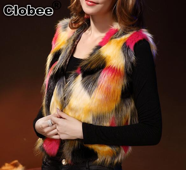 Luxury 6XL autumn 2019 Women Faux Fur Short Waistcoat Coat Ladies Colorful Furry Jacket Mix Colors Female Elegant Jacket