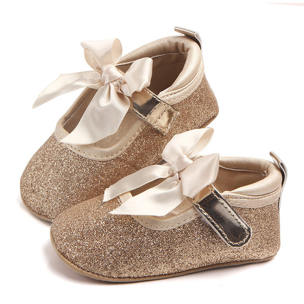 Fashion Baby casual shoe Girl Butterfly-knot Soft Sole Bling Bowknot Anti-slip Cloth shoes Princess Shoes first walker