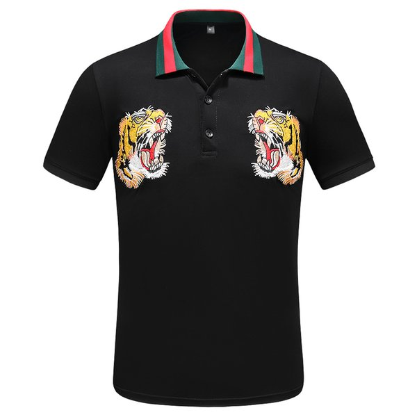 Itália Designer de Camisas Polo High Street Bordados Garter Cobras Pouco Roupas de Impressão de Luxo Medusa Tees camisas Mens Marca Camisas Polo