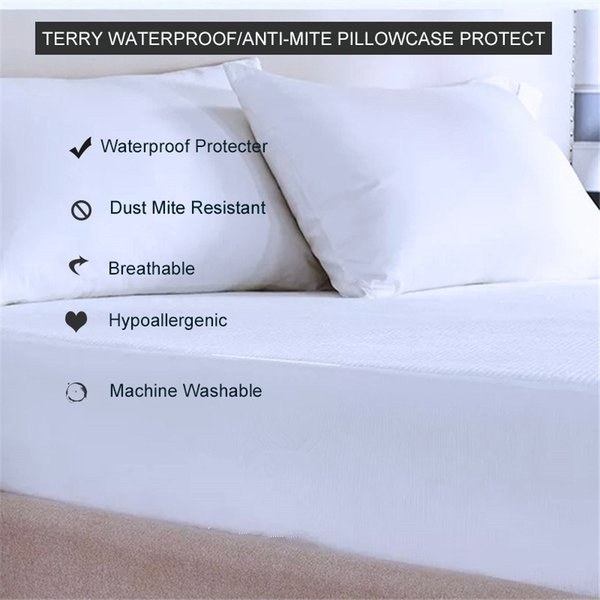 Admirable 50X70Cm 2 Pack Premium Terry Dust Mite Resistant Pillowcase Protectors Hypoallergenic Bed Bug Pillow Covers With Zippered White Wholesale Travel Caraccident5 Cool Chair Designs And Ideas Caraccident5Info