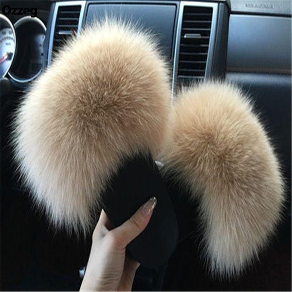 2018 das mulheres chinelos peludos senhoras bonito de pelúcia Fox cabelo macio chinelos de pele das mulheres inverno quente para as mulheres quente