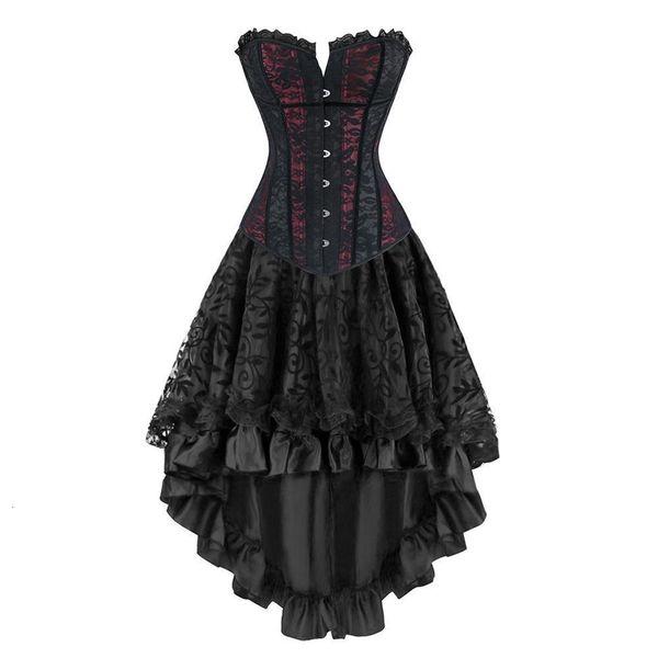 Gothic Burlesque Steampunk Корсет платье Overbust корсеты и бюстье С скомпонованное Юбка J190706