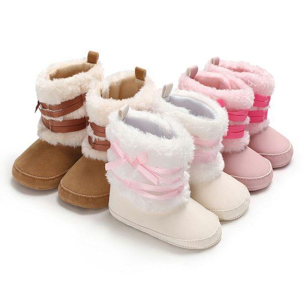Baby Girl Boy Plush Winter Snow Boots Infant Newborn Bowknot Booties Warm Shoes Prewalker