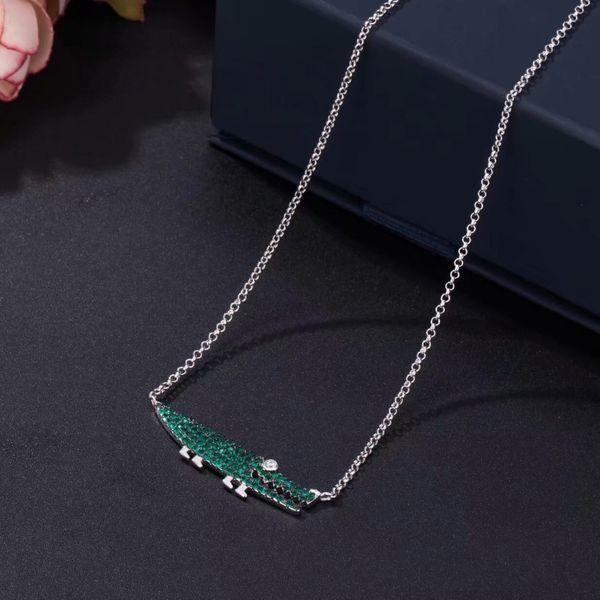 AAA Cubic Zirconia Crocodile Silver Chain Necklace Fashion Animal Collar Green Zircons Necklace for Women Monaco Jewelry