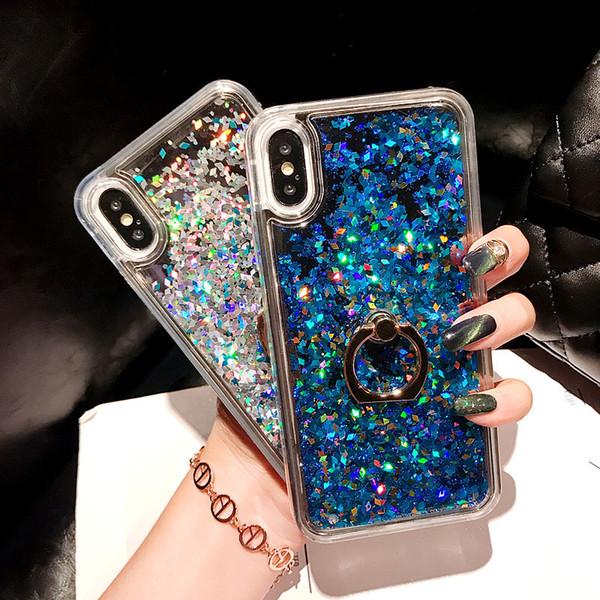 Fashion Soft Dynamic Liquid Glitter Quicksand Gel TPU Case Cover For iPhone6 6 6Plus 7 7Plus Ring Holder Case