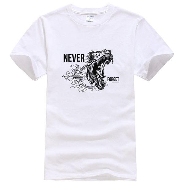 Letter Never Forget Cotton T Shirt Men Summer Fashion T-shirt Animal Dinosaur Printed Cool Tees Short Sleeve Tops #038