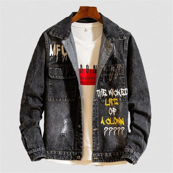 Mens Hip Pop Jeans Homens Graffiti Letras Jaqueta Casaco Denim Jaqueta Camuflagem Resistente Ao Desgaste Unlined Denim Tamanho Asiático M-2XL