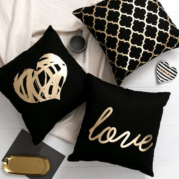 Black Golden Leaves Cushion Brozing Gold Foil Cushion Decorative Pillows Home Decor Throw Pillow Almofadas Decorativas Para Sofa SH190814