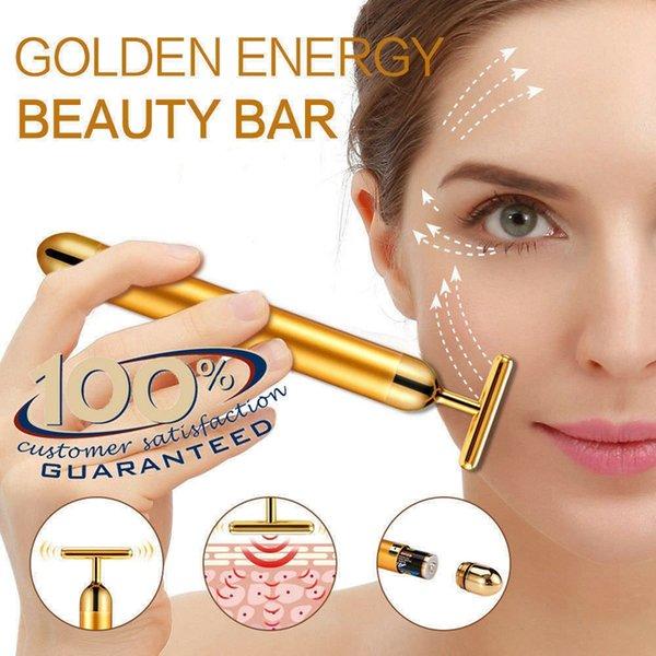 Energy Beauty Bar 24 K Gold Pulse Rassodante Massager del viso Massaggiatore Derma Skincare Trattamento delle rughe Massaggiatore viso con scatola