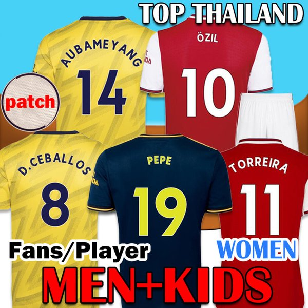 top popular 2019 2020 Red Soccer Jerseys 19 20 Arsen away yellow shirt 2019 2020 tops kits Camiseta de futbol maillot de foot Men + Kids 2019
