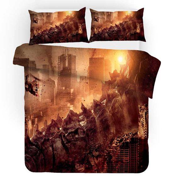 3D Gojira Godzilla Duvet Cover Pillowcases cover Bedding Set