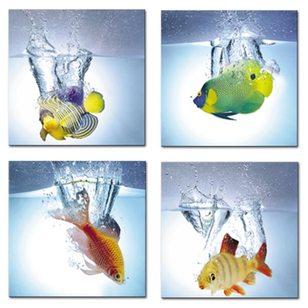 Leinwand Malerei Cute Goldfish Art Bild für Kitchen Decor 4 Panels No Framed 12x12
