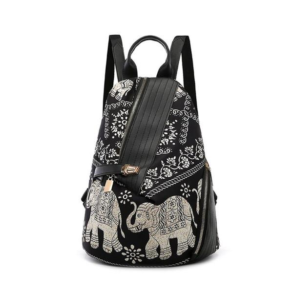 Zaino a tracolla con stampa a forma di elefante da donna Zaino da viaggio in nylon con borsa stampa colorata da viaggio per ragazze