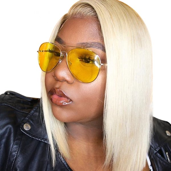 Factory price on sale glueless unprocessed virgin human hair medium bob #613 natural straight full front lace wig for women