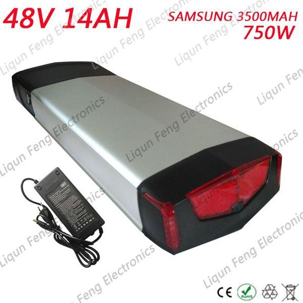 EUA UE Poderoso Cremalheira EBike 750 W sans taxe 14AH Da Bateria SAMSUNG 35E Batterie de cinéma de luxe avec BMS 30A + Carregador de 54.