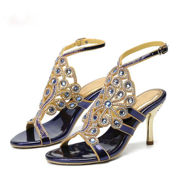 2019 Blue Purple Gold Color Women Summer Dress Sandals Open Toe 3 Inches Rhinestone Girl Birthday Party Shoes Bridesmaid Sandals