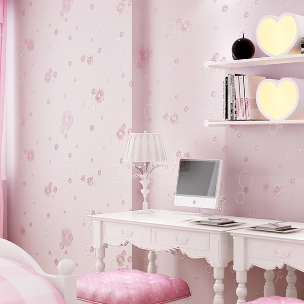 Beautiful Small Flowers Embossed Wallpaper Sweet Baby Girl Bedroom Wall Paper 3d Self Adhesive Kids Rooms Wallpapers Roll Ez031
