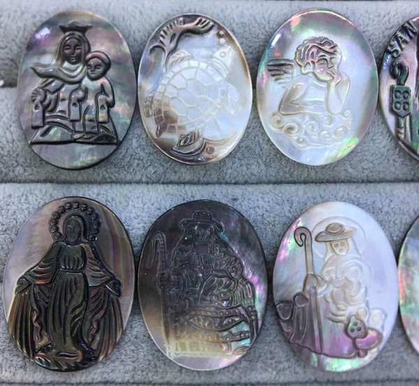 best selling Last Batch 6pcs 40x30mm Mother of Pearl shell jewlery oval egg Mary Jesus Cameo Carved Christ Cameo grey black shell pendant Beads