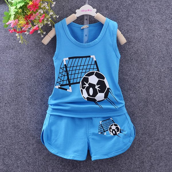 summer new baby boys clothing set children clothing Football tracksuit vest t shirt+shorts 2pcs kids boy sport clothes sets