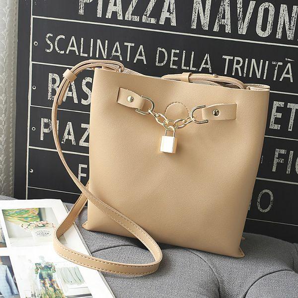 2019 handbag women fashion bucket with hardware lock composite shoulder messenger bag 2pcs dropshipping bolsa feminina