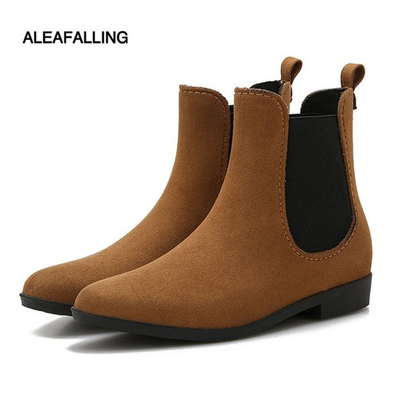 Aleafalling Hot Spring Bottes d'hiver Brand Design Bottes cheville pluie Chaussures femme bande élastique en caoutchouc solide Flats étanche