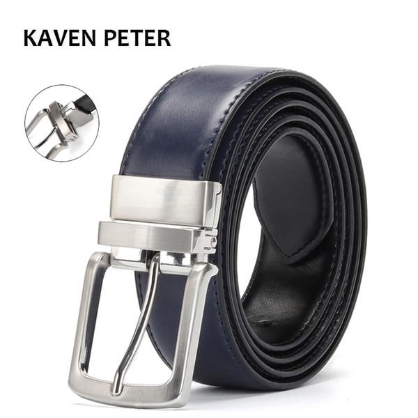Ceinture réversible hommes Accessoires en cuir de luxe Ceinture Jeans males pivotable Boucle Designer Ceintures Cowskin Robe bleue
