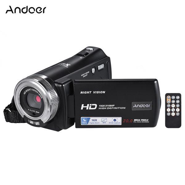 amcorders Бытовая Видеокамеры Andoer V12 1080P Видеокамера Full HD 16X цифровой зум Запись видеокамера ж / 3,0-дюймовый ЖК-экран Вращающийся ...