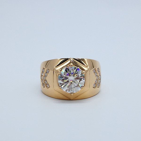 3Ct Perfect General Ring Rose 9K,14K,18k Gold Classic Gentleman Moissanite Diamond Men's Wed Ring With Certificate