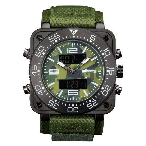 INFANTRY Big Face Mens Military Square Case Dual Time Tactical Digital/Analog Heavy Duty Green Nylon Strap Wrist Watch