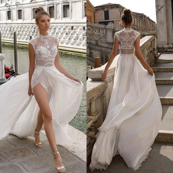 2019 New High Neck Lace A-line Wedding Dresses Sexy High Slit Bohemian Beach Bridal Gown Custom Made